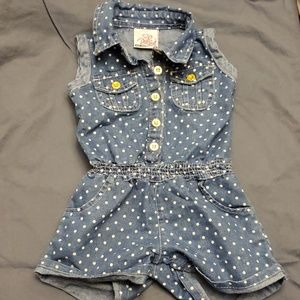 Toddler/Baby Jean Romper with Hearts